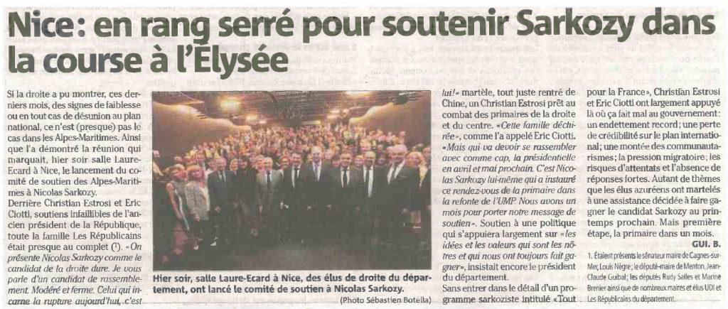 RP Nice En rang serré pour soutenir Sarkozy